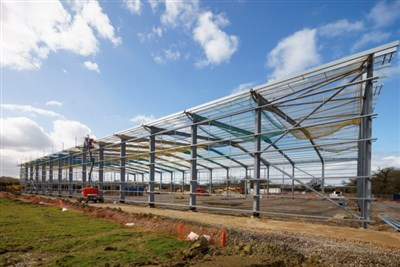 Steel frames go up at Gateway 12 development in Gloucestershire
